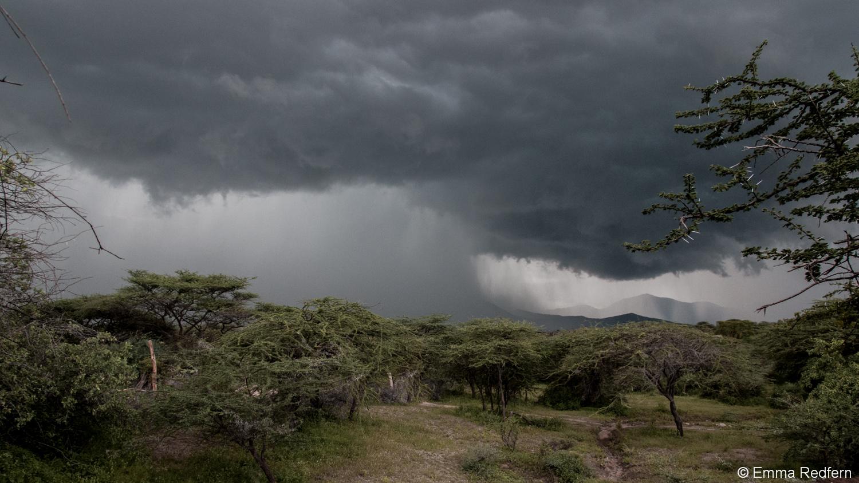 Heavy rain falling over Il'Ngwesi - Laikipia East