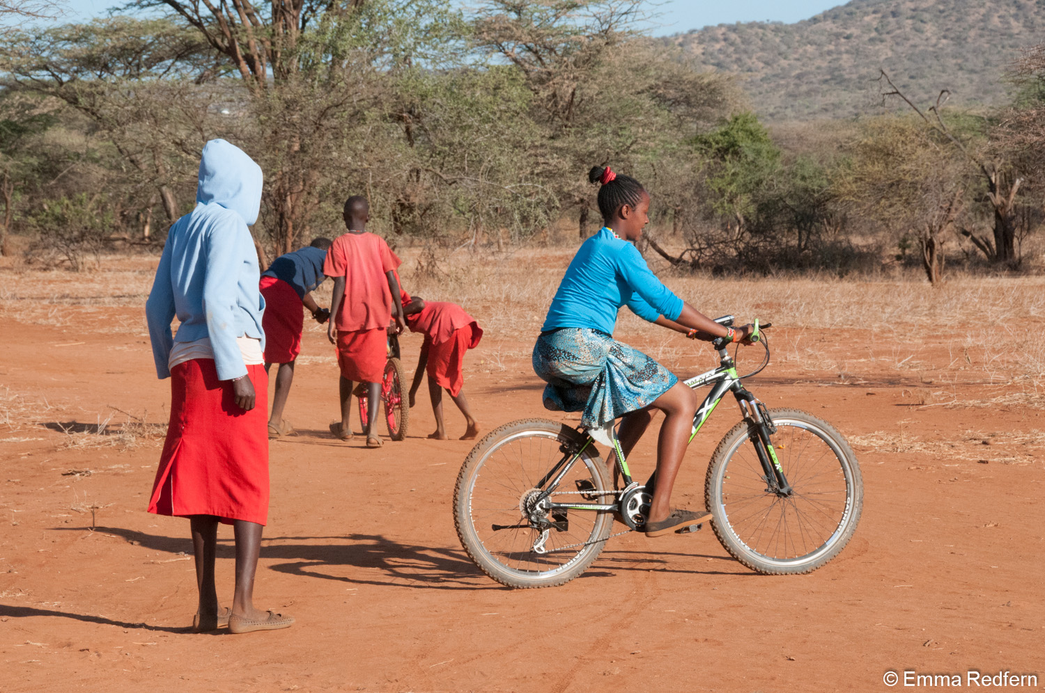 Our two trainee teachers are also learning to ride a bicycle.