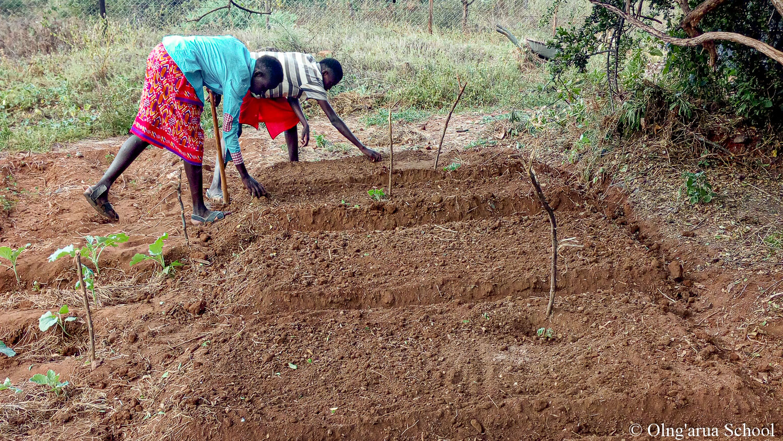 Manuel and Lekool expanding the school vegtable garden