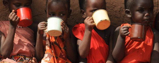 Drinking Milk at Olng'arua School